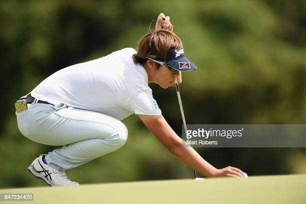 Eri Okayama of Japan prepares to putt on the first green during the first round of the Munsingwear Ladies Tokai Classic 2017 at the Shin Minami Aichi...