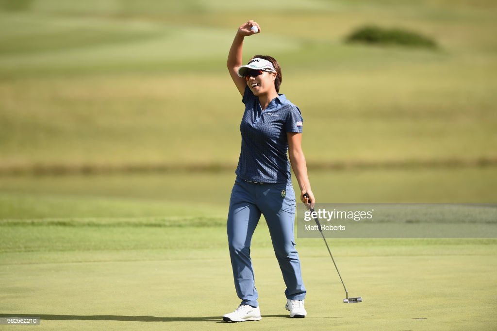 Eri Okayama of Japan reacts after her putt on the 18th hole during the second round of the Resorttust Ladies at Kansai Golf Club on May 26, 2018 in Miki, Hyogo, Japan.
