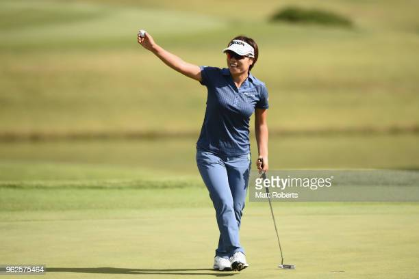 Eri Okayama of Japan reacts after her putt on the 18th hole during the second round of the Resorttust Ladies at Kansai Golf Club on May 26 2018 in...