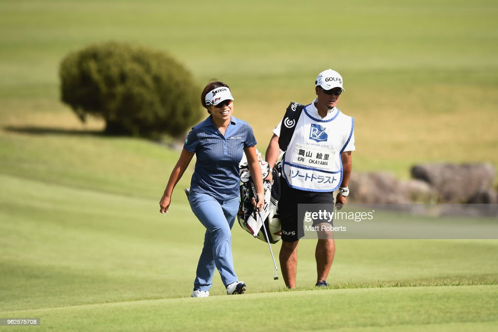 Eri Okayama of Japan smiles as she walks onto the 18th green during the second round of the Resorttust Ladies at Kansai Golf Club on May 26, 2018 in Miki, Hyogo, Japan.