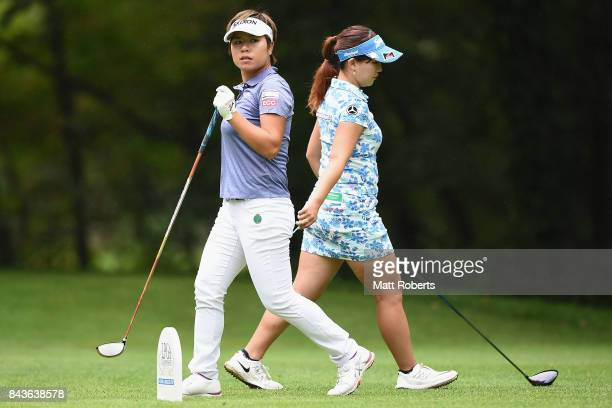 Eri Okayama of Japan watches her tee shot on the 12th hole during the first round of the 50th LPGA Championship Konica Minolta Cup 2017 at the Appi...