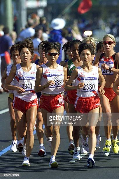 Eri Yamaguchi Naoko Takahashi and Ari Ichihashi of Japan compete in the Women's Marathon during the Sydney Olympics on September 24 2000 in Sydney...