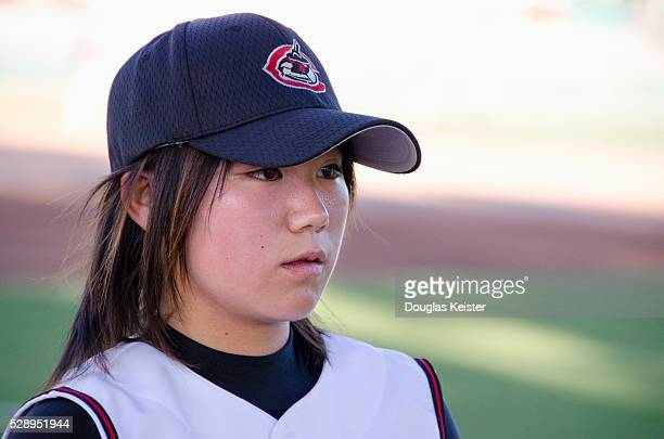 Eri Yoshida the 19 year old female knuckleball pitcher from Japan gets ready to in a minor league game for the Chico Outlaws in Chico California on...