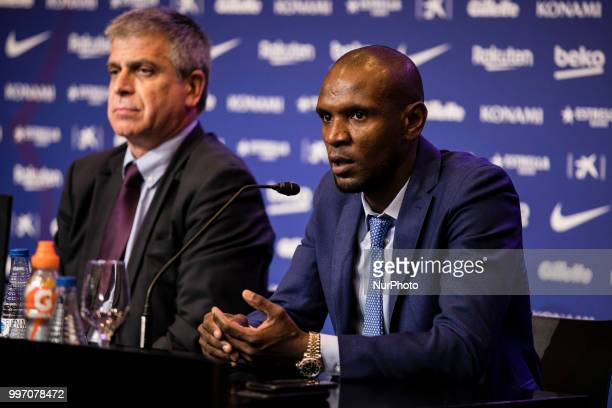 Eric Abidal and Jordi Mestre during the presentation of Arthur Melo from Brasil after being the first new signing for FC Barcelona 2018/2019 La Liga...