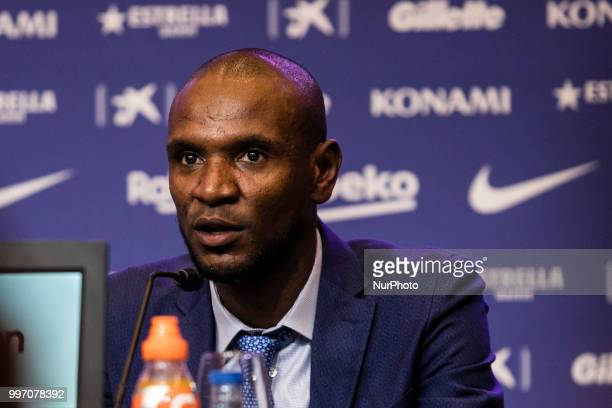 Eric Abidal during the presentation of Arthur Melo from Brasil after being the first new signing for FC Barcelona 2018/2019 La Liga team in Camp Nou...