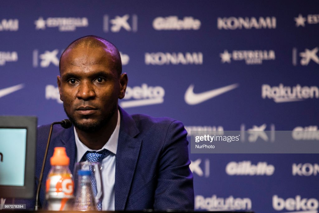 Eric Abidal during the presentation of Arthur Melo from Brasil after being the first new signing for FC Barcelona 2018/2019 La Liga team in Camp Nou Stadiu, Barcelona on 11 of July of 2018.