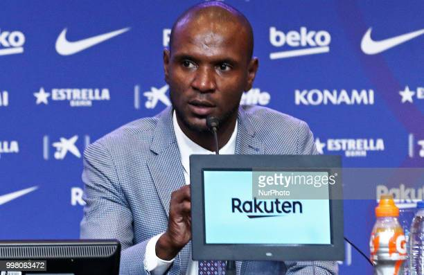 Eric Abidal during the presentation of Clement Lenglet as a new player of FC Barcelona on 13th July in Barcelona Spain