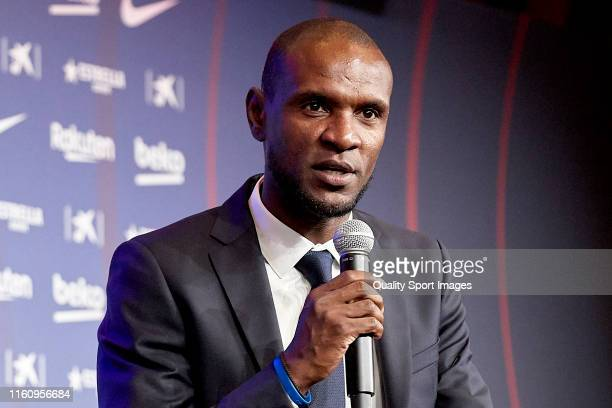 Eric Abidal during the press conference of Norberto Murara Neto unveiling at Camp Nou on July 09 2019 in Barcelona Spain