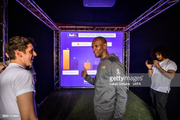 Eric Abidal in the tent of FedEx at the Fan Zone ahead of the UEFA Europa League Final between Olympique de Marseille and Club Atletico de Madrid at...