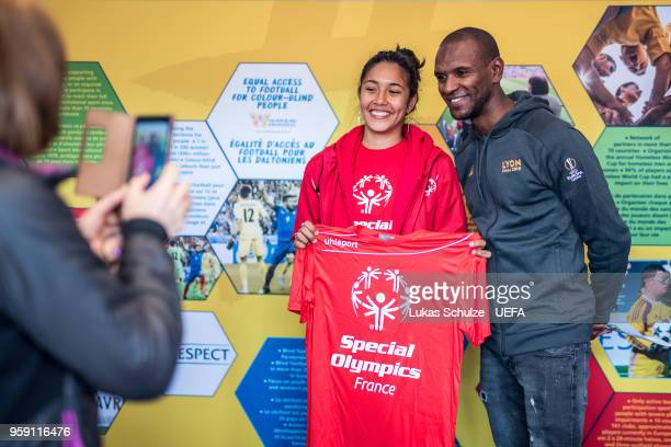 Eric Abidal in the tent of Special Olympics at the Fan Zone ahead of the UEFA Europa League Final between Olympique de Marseille and Club Atletico de...