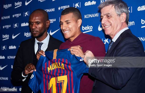 Eric Abidal Jeison Murillo and Jordi Mestre poses during the press conference of Jeison Murillo as new player of FC Barcelona at Nou Camp on December...