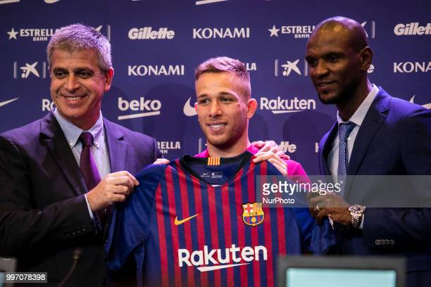Eric Abidal Jordi Mestre and Arthur Melo from Brasil during his presentation after being the first new signing for FC Barcelona 2018/2019 La Liga...