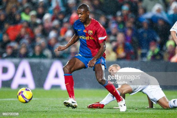 Eric Abidal of Barcelona and Fabio Cannavaro of Real Madrid during the Liga match between Barcelona and Real Madrid at Camp Nou Barcelona Spain on...