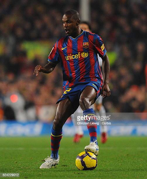 Eric Abidal of Barcelona during the Spanish First Division match in Barcelona Spain | Location Barcelona Spain