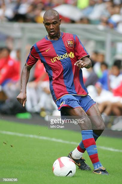 Eric Abidal of Barcelona in action during the friendly match between a Mission Hill Invitation XI and Barcelona at Hong Kong Stadium on August 11...