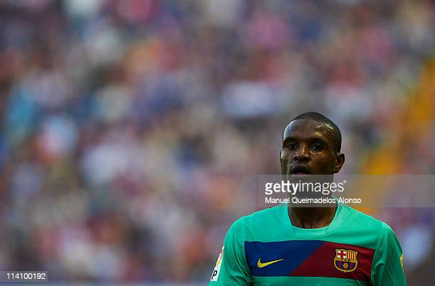 Eric Abidal of Barcelona looks on during the La Liga match between Levante UD and Barcelona at Ciutat de Valencia on May 11 2011 in Valencia Spain...