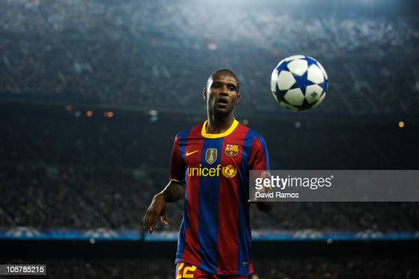 Eric Abidal of Barcelona runs to catch the ball during the UEFA Champions League group D match between Barcelona and FC Copenhagen at the Camp nou...
