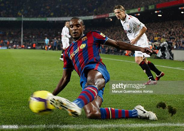 Eric Abidal of FC Barcelona in action during the La Liga match between Barcelona and Sevilla at the Camp Nou stadium on January 16 2010 in Barcelona...