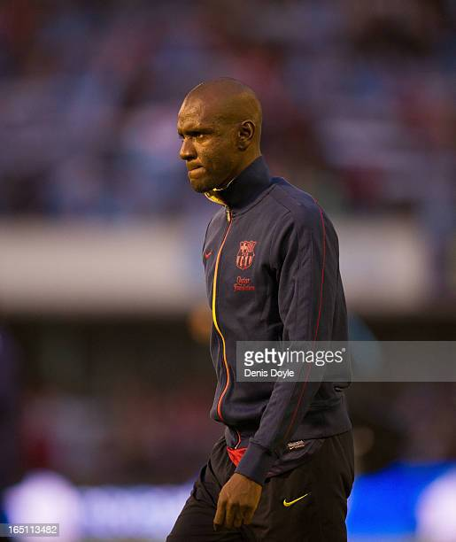 Eric Abidal of FC Barcelona looks on before the La Liga match between RC Celta de Vigo and FC Barcelona at Estadio Balaidos on March 30 2013 in Vigo...