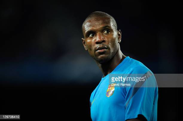 Eric Abidal of FC Barcelona looks on during the warm up prior to the UEFA Champions League Group H match between FC Barcelona and FC Viktoria Plzen...