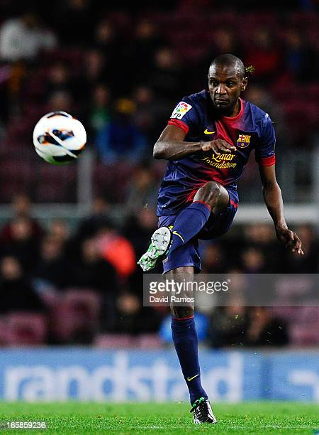 Eric Abidal of FC Barcelona passes the ball during the La Liga match between FC Barcelona and RCD Mallorca at Camp Nou on April 6 2013 in Barcelona...