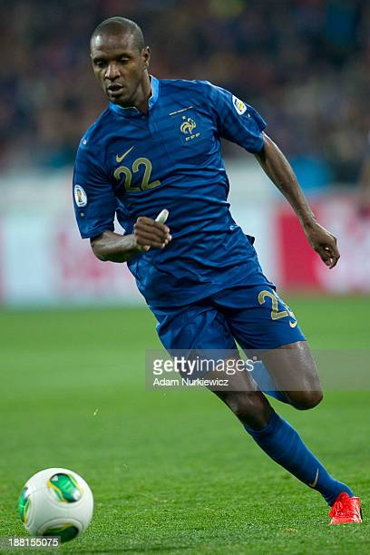 Eric Abidal of France controls the ball during the FIFA 2014 World Cup Qualifier Playoff First Leg soccer match between Ukraine and France at the...