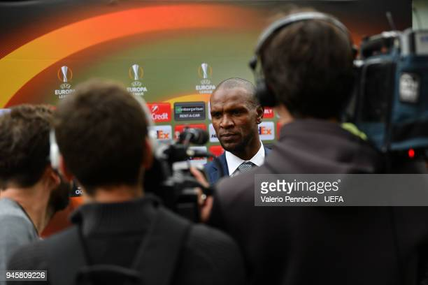 Eric Abidal talks with the media during the UEFA Europa League Trophy Handover on April 13 2018 in Lyon France