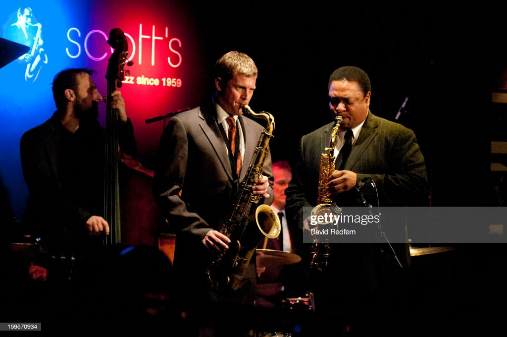 Eric Alexander and Vincent Herring of Eric Alexander And Vincent Herring Quintet Featuring Harold Mabern In the Spirit of Coltrane perform at Ronnie Scott's Jazz Club on January 15, 2013 in London, United Kingdom.
