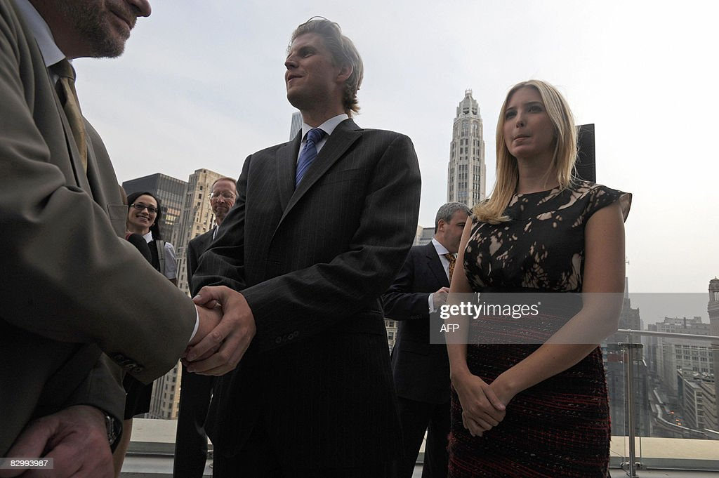 Eric and Ivanka Trump at a press conference at the Trump International Hotel and Tower in Chicago on September 24, 2008. Trump's 1,360-foot (414.5-meter), 92-story tower is expected to be finished in six months and will stand as the second-tallest building in Chicago, after the Sears Tower. AFP PHOTO/Amanda Rivkin