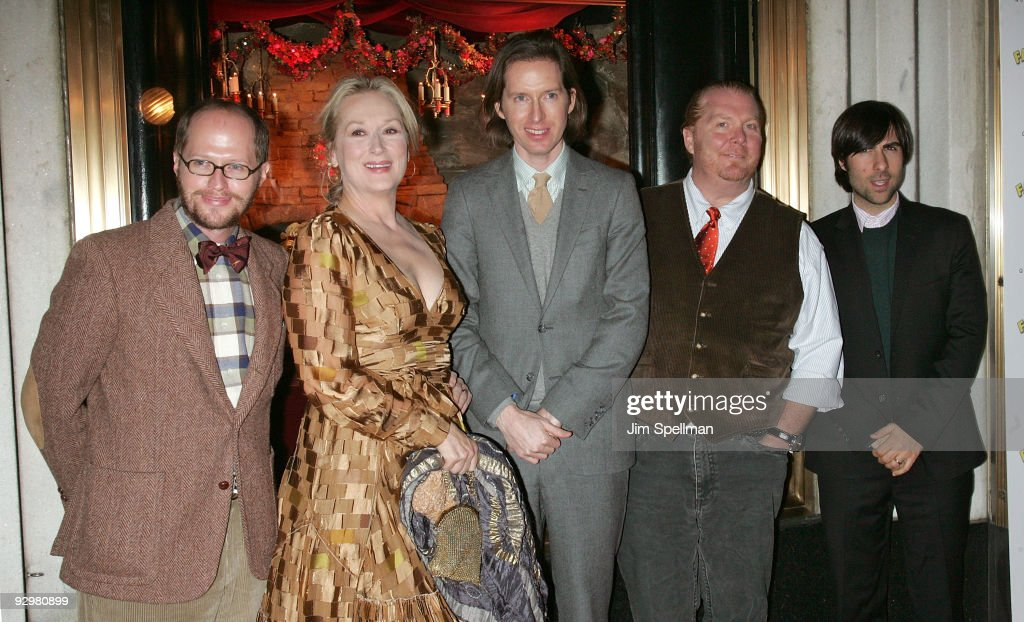 Eric Anderson, actress Meryl Streep, director Wes Anderson, Chef Mario Batali and actor Jason Schwartzman attend the 'Fantastic Mr. Fox' premiere at Bergdorf Goodman on November 10, 2009 in New York City.