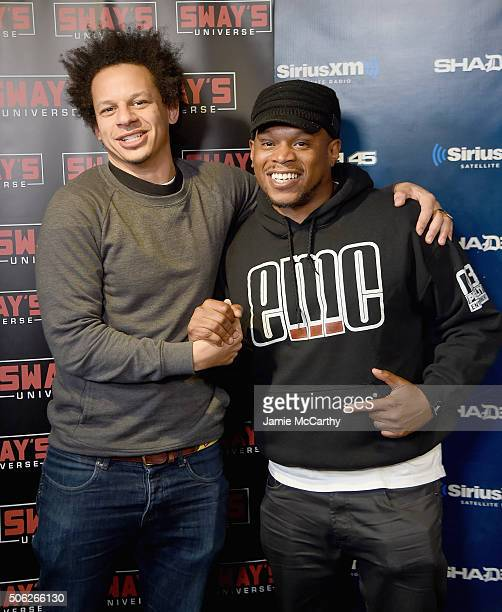 Eric Andre and Host Sway during an interview on 'Sway in the Morning' on SHADE 45 at SiriusXM Studios on January 22 2016 in New York City
