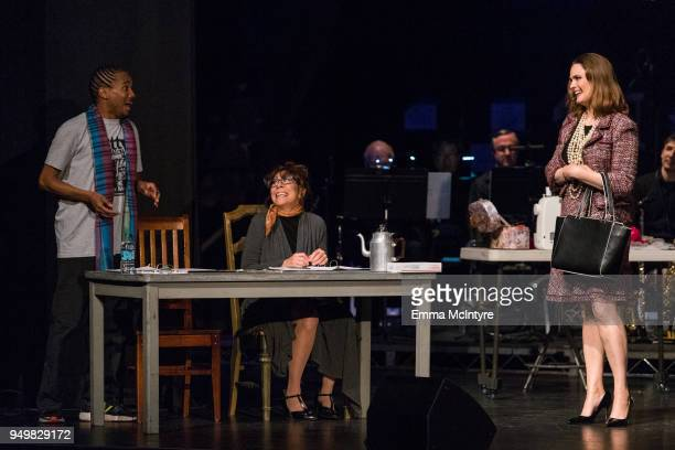 Eric Anthony, Mindy Sterling, and Emily Deschanel perform onstage at 'CATstravaganza featuring Hamilton's Cats' on April 21, 2018 in Hollywood,...