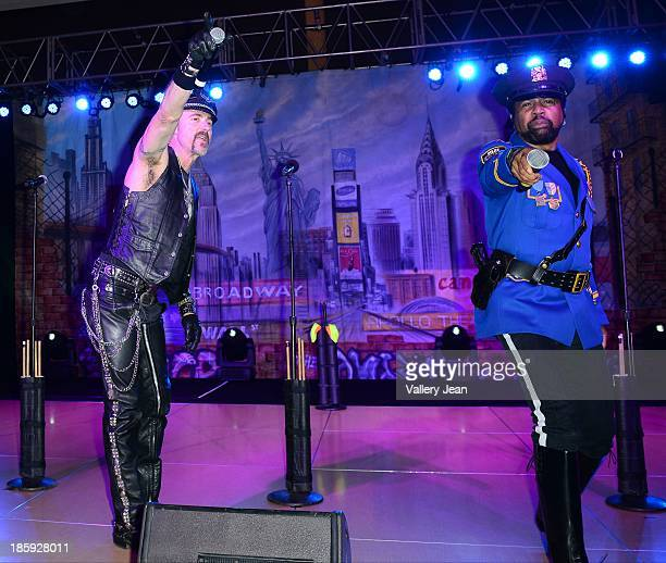 Eric Anzalone and Ray Simpson of The Village People perfoms at the 13th Annual Footy's Bubbles Bones Gala at Westin Diplomat on October 25 2013 in...