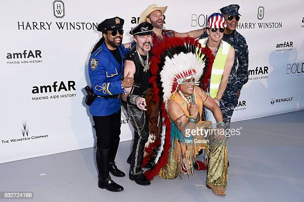 Eric Anzalone Ray Simpson Jim Newman Felipe Rose Bill Whitefield and Alex Briley of the band Village People arrive at amfAR's 23rd Cinema Against...