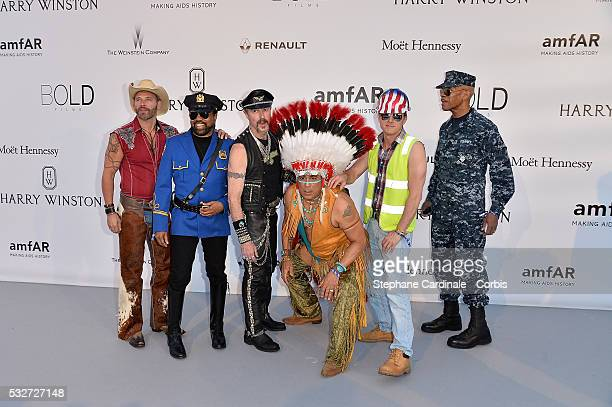 Eric Anzalone Ray Simpson Jim Newman Felipe Rose Bill Whitefield and Alex Briley of the band Village People attends the amfAR's 23rd Cinema Against...