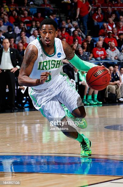 Eric Atkins of the Notre Dame Fighting Irish handles the ball against the Iowa State Cyclones during the second round of the 2013 NCAA Men's...