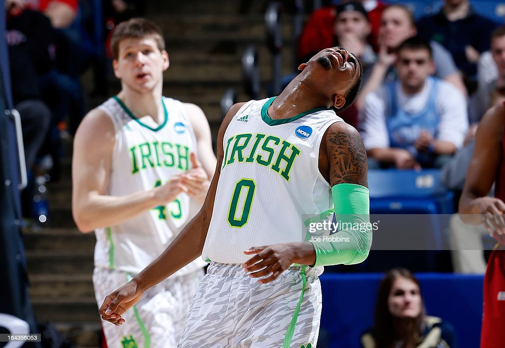 Eric Atkins #0 of the Notre Dame Fighting Irish reacts after a play in the second half against the Iowa State Cyclones during the second round of the 2013 NCAA Men's Basketball Tournament at UD Arena on March 22, 2013 in Dayton, Ohio.