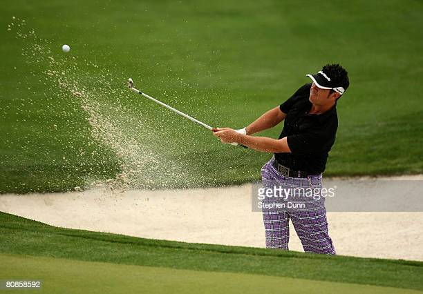 Eric Axley hits from a bunker on the 15th hole during the second round of the EDS Byron Nelson Championship at TPC Four Seasons Resort Las Colinas on...