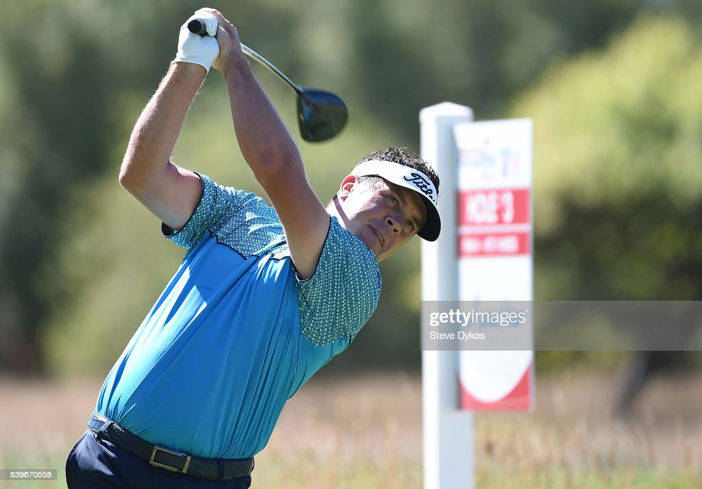 Eric Axley hits his drive on the third hole during round three of the WinCo Foods Portland Open at Pumpkin Ridge Golf Club - Witch Hollow on August 26, 2017 in North Plains, Oregon.