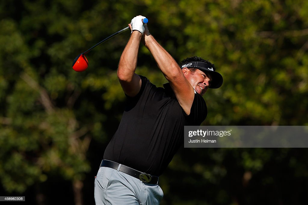 Eric Axley of the United States hits a tee shot on the second hole during the second round of the OHL Classic at Mayakoba on November 14, 2014 in Playa del Carmen, Mexico.