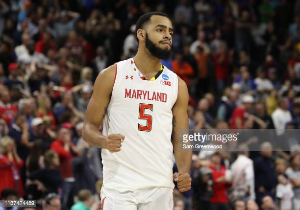Eric Ayala of the Maryland Terrapins reacts against the Belmont Bruins during the first round of the 2019 NCAA Men's Basketball Tournament at VyStar...