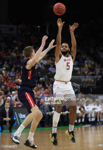 Eric Ayala of the Maryland Terrapins takes a shot against the Belmont Bruins in the first half during the first round of the 2019 NCAA Men's...