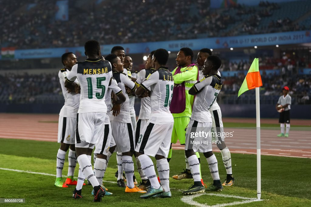 Eric Ayiah of Ghana (C) #6 celebrates with his team-mates after scoring his team's first goal to make it 1-0 during the FIFA U-17 World Cup India 2017 group A match between Ghana and India at Jawaharlal Nehru Stadium on October 12, 2017 in New Delhi, India.