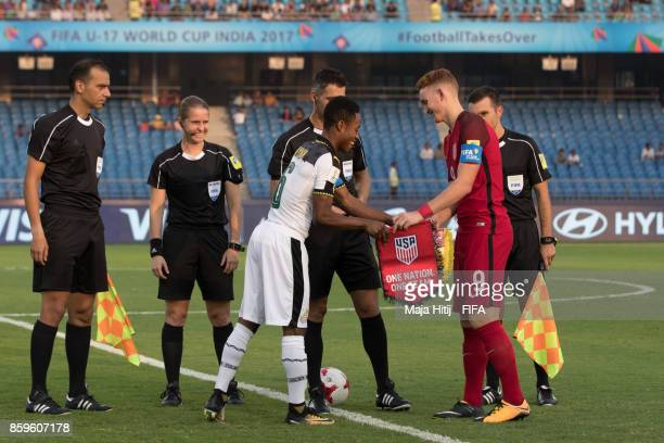 Eric Ayiah of Ghana and Josh Sargent of USA prior the FIFA U17 World Cup India 2017 group A match between Ghana and USA at Jawaharlal Nehru Stadium...