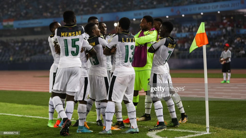 Eric Ayiah of Ghana (C) celebrates with his team-mates after scoring his team's first goal to make it 1-0 during the FIFA U-17 World Cup India 2017 group A match between Ghana and India at Jawaharlal Nehru Stadium on October 12, 2017 in New Delhi, India.