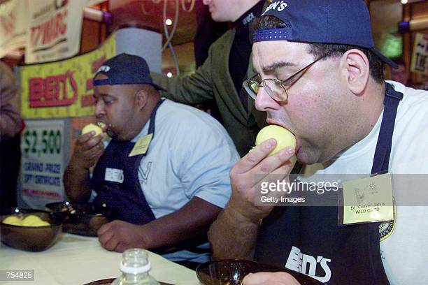 Eric Badlands Booker and Ed Cookie Jarvis eat matzo balls at Ben Kosher Deli's 5th Annual Charity Matzo Ball Eating contest at Ben's Kosher Deli...