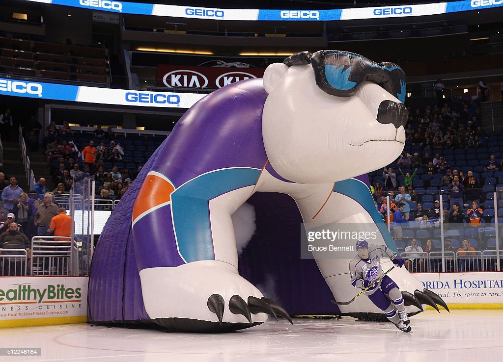Eric Baier #7 of Orlando Solar Bears skates out onto the ice prior to the game against the Atlanta Gladiators at the Amway Center on February 13, 2016 in Orlando, Florida.