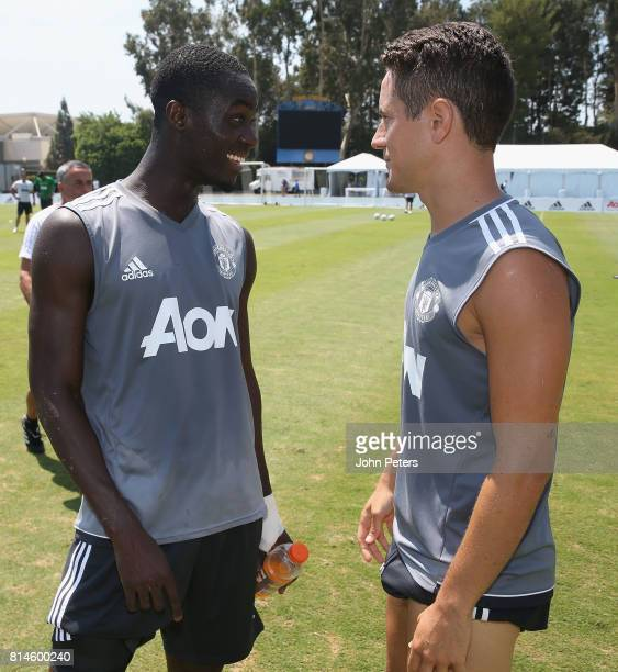 Eric Bailly and Ander Herrera of Manchester United in action during a first team training session as part of their preseason tour of the USA at UCLA...