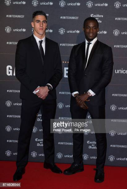 Eric Bailly and Joel Pereira attend a gala dinner at Old Trafford in Manchester held by Manchester United and Unicef to raise funds for the charity