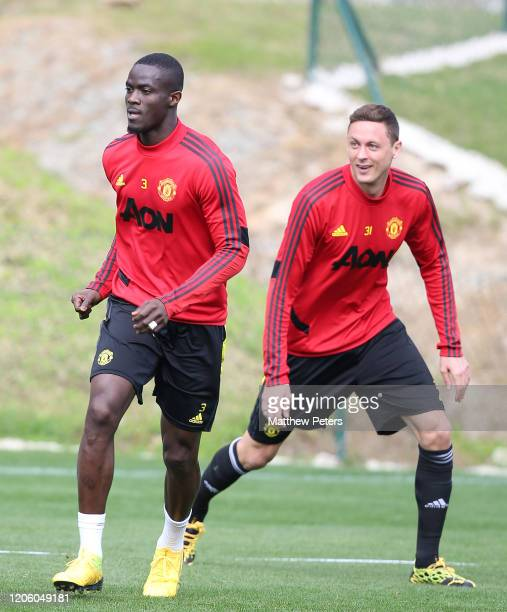 Eric Bailly and Nemanja Matic of Manchester United in action during a first team training session on February 13 2020 in Malaga Spain